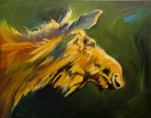 Diane Whitehead Miss Moose Two 22X28 Oil $2,700.jpg