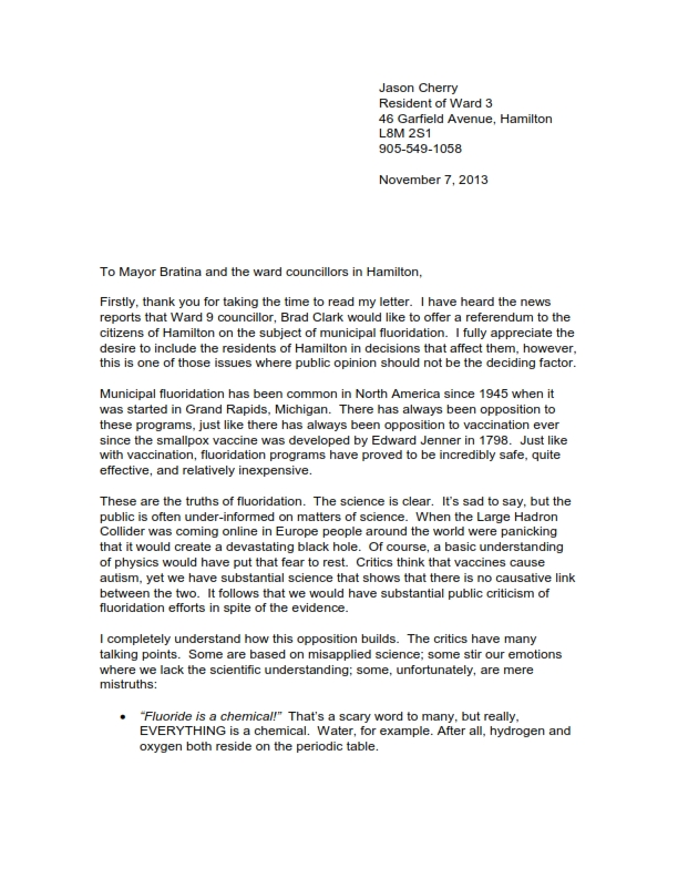 Letter To City Hall About Fluoride The Page Of Chip
