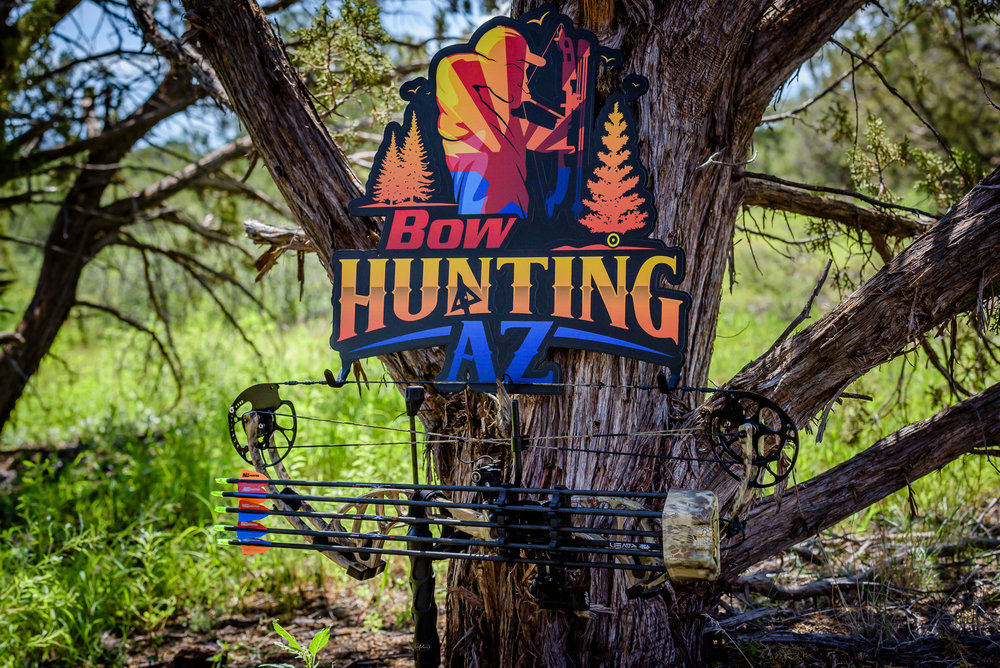 What better way to showcase your bow than this custom hanger! Don't leave your bow sitting around in a case hidden somewhere. Show off your BowhuntingAZ pride!
