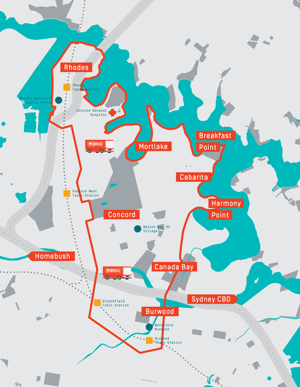 Map of BRIDJ Sydney inner west service area