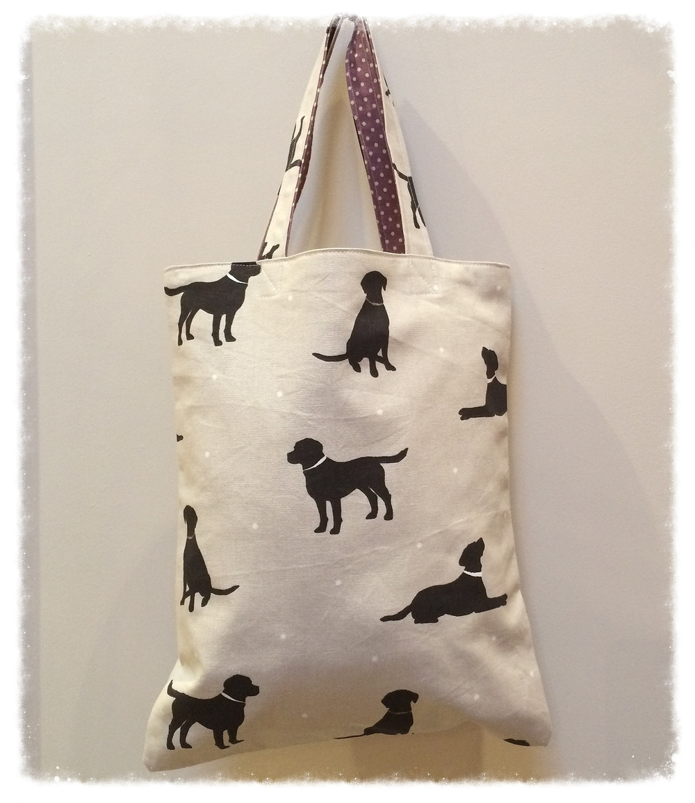 Dog print tote bag- one of our many cuteeveryday designs made to last, and to brighten your day.