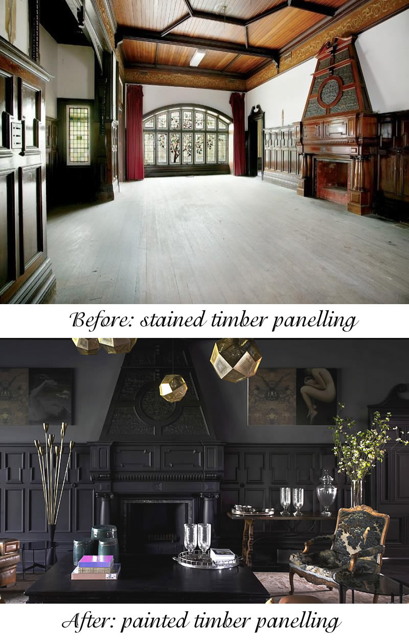 before and after stained timber versus painted timber