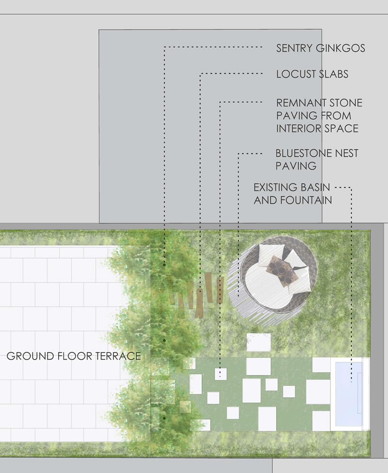 urban rooftop garden plan with secret seating by nelson byrd woltz