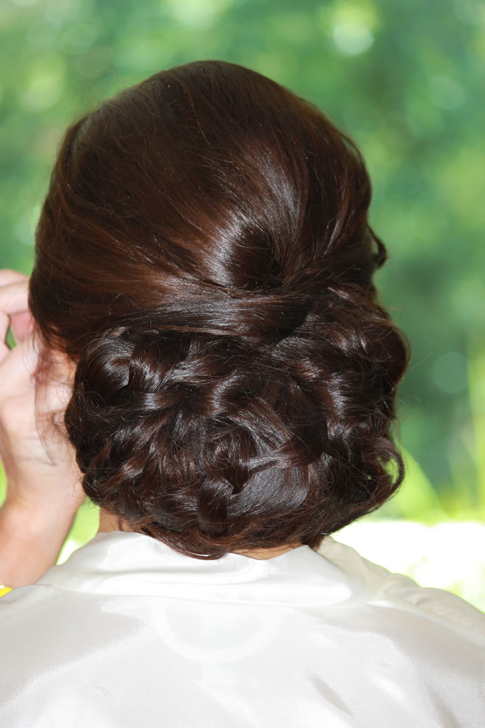 twisted chignon at nape of neck