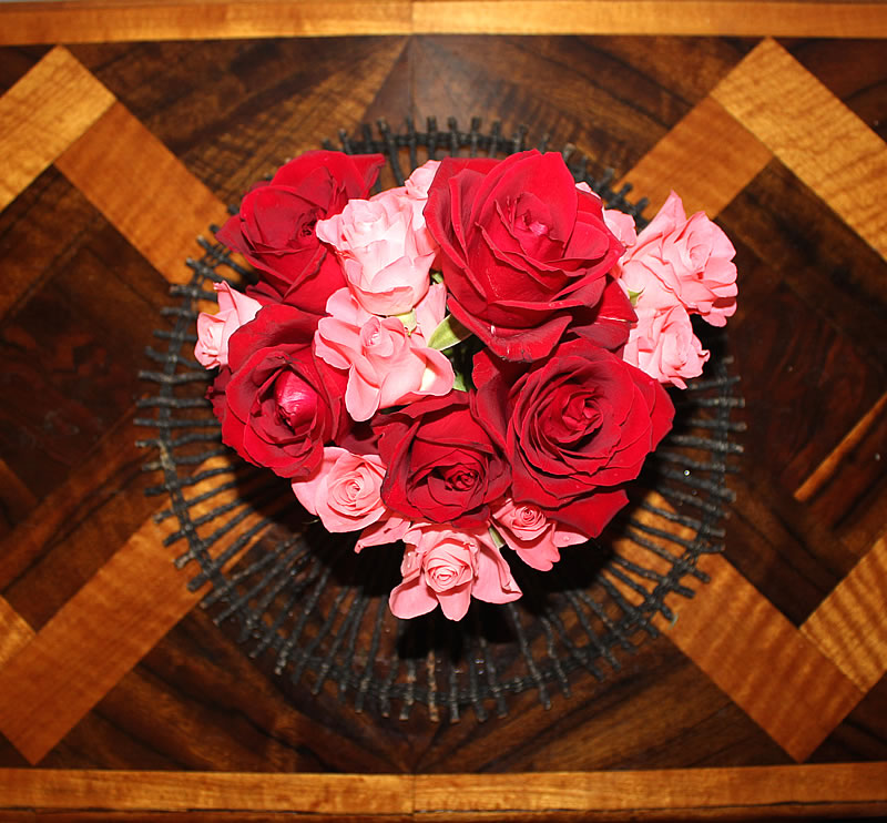 roses on an art deco marquetry table