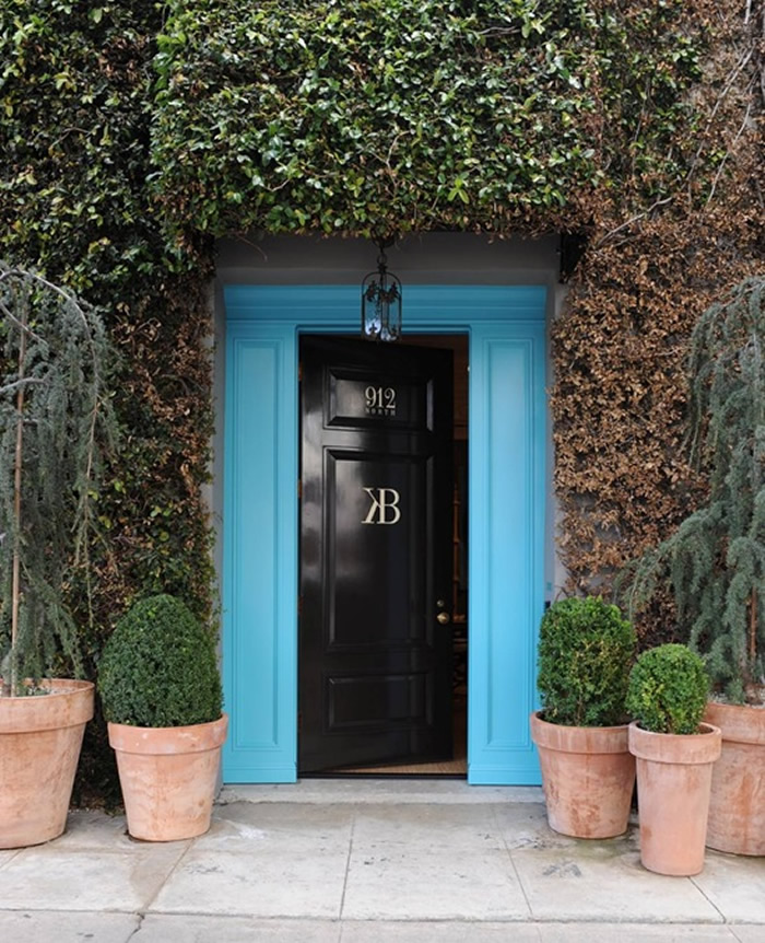 black front door turquoise blue surround