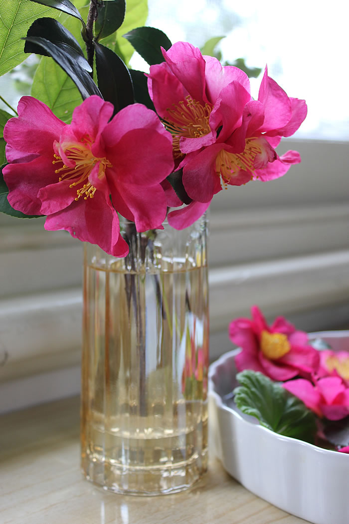 GOLD GLASS WITH CAMELLIAS