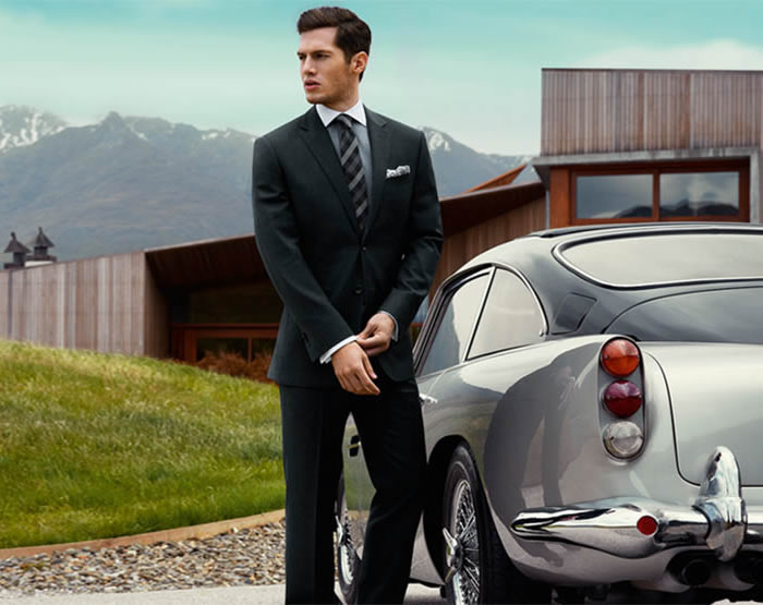 rhodes and beckett suit with classic car