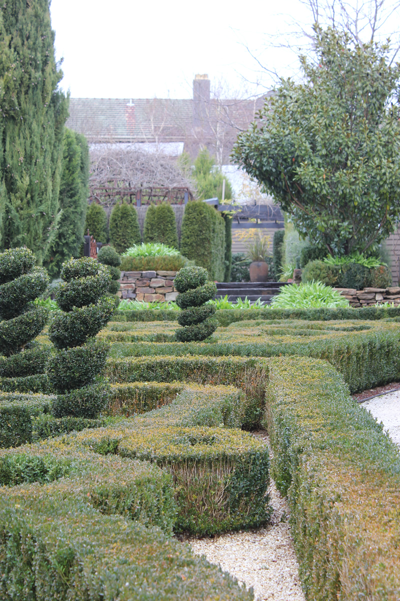 Spiral topiary and a knot garden laid out in the shape of grape vine leaves...