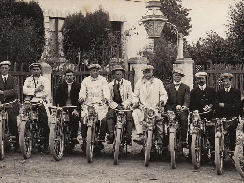 The Triumph Motor Cycle Club outside Parma House in 1910, when it was a guest house.