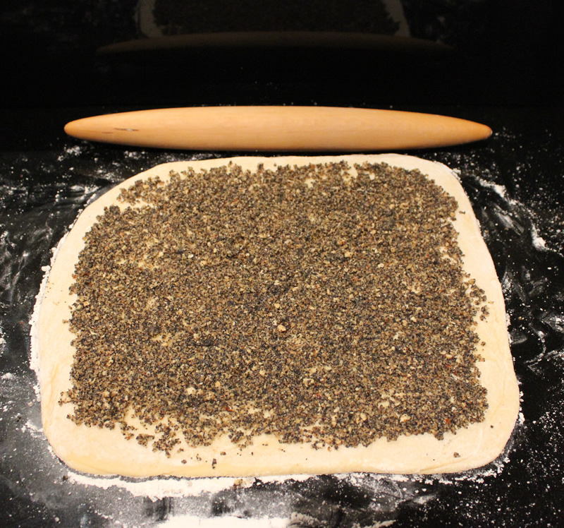 rolling out dough for walnut poppyseed buns