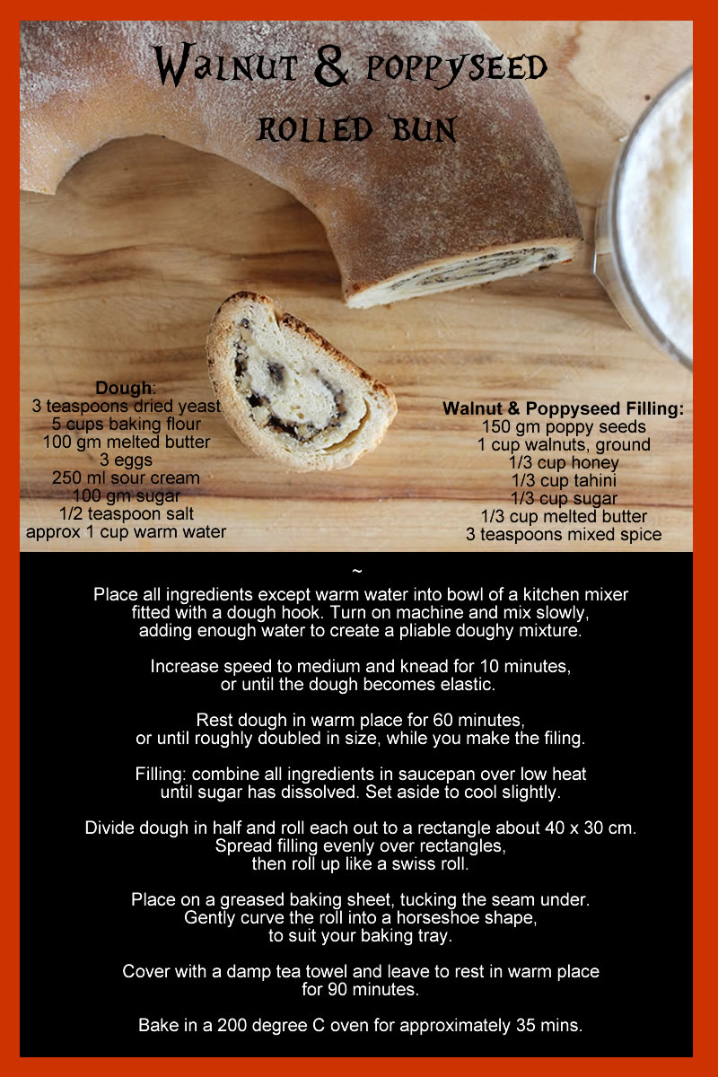 walnut and poppyseed bun recipe