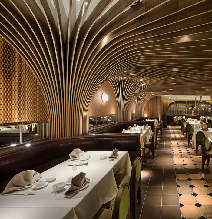 These Voluptuously Curved Ceilings In A Restaurant In Hong Kong