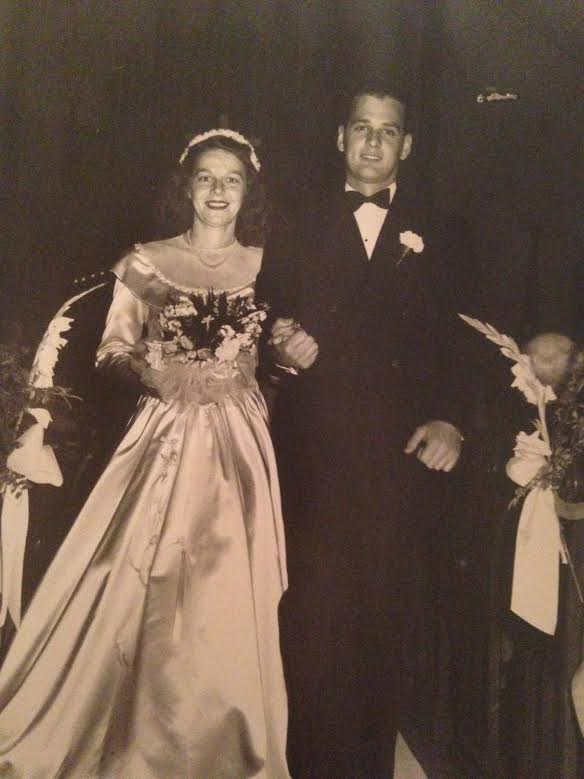 Mog & Pog on their wedding day in 1946. I cherish this photo. I love the timeless styling, but mostly their happy, handsome faces & the way they are holding hands.