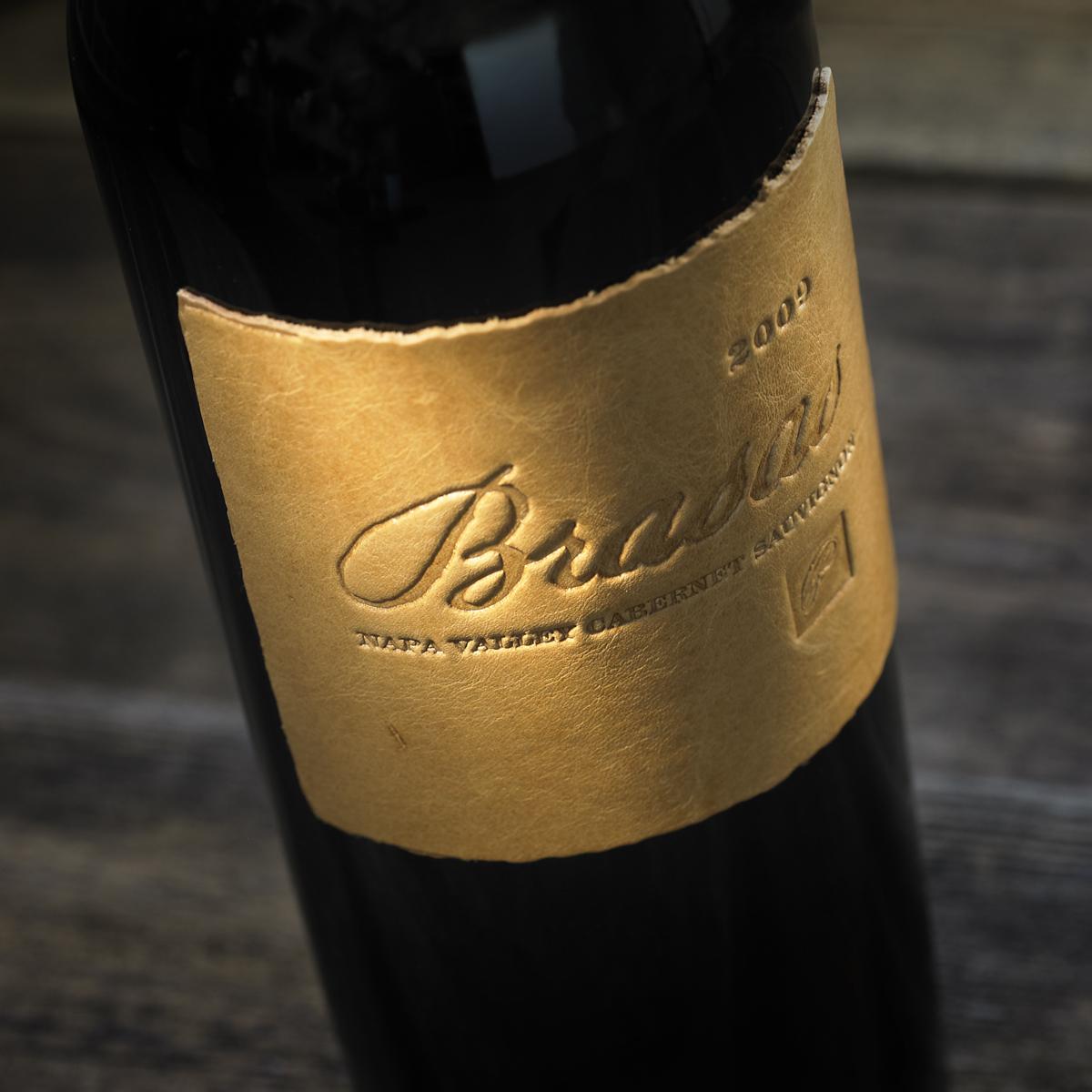 Adg Designs Leather Wine Label For Palmaz Vineryards