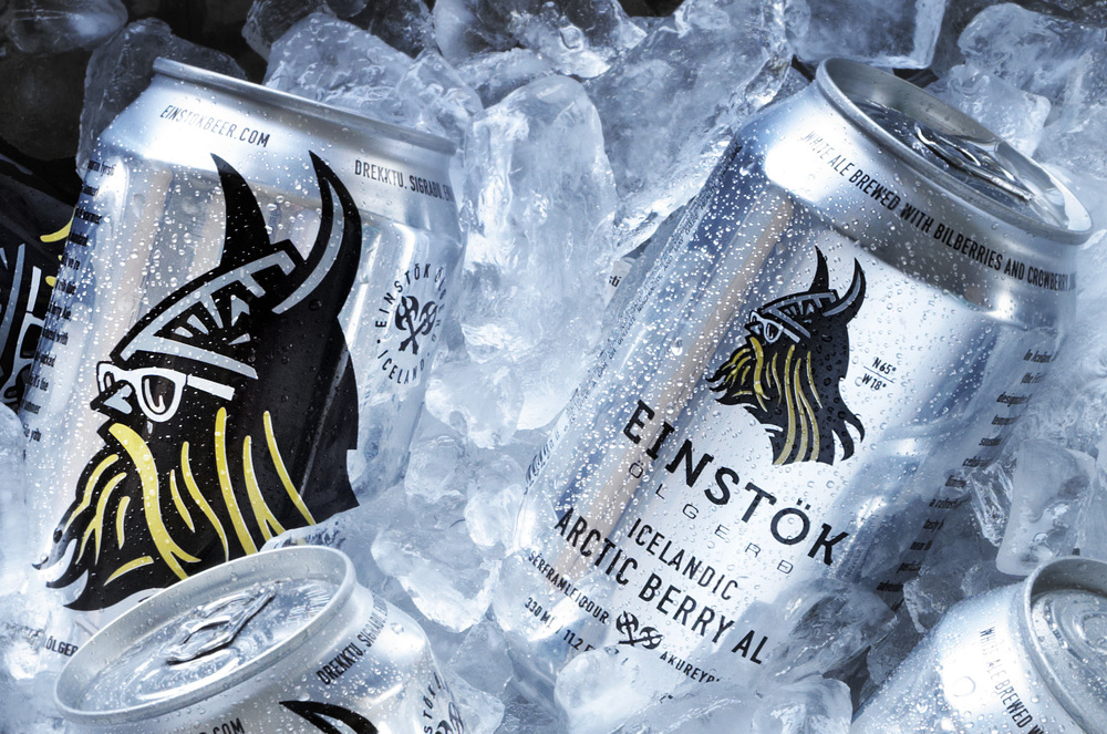 Auston Design Group - Einstok Arctic Berry Ale Cans - Ice bucket Close-up