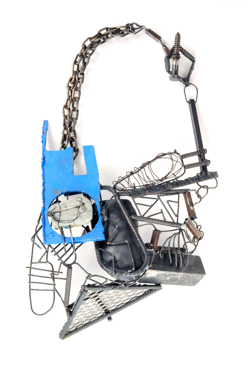 "Necklace  , 2015  Steel, concrete, paint  33""x 17.5""x2.5"""