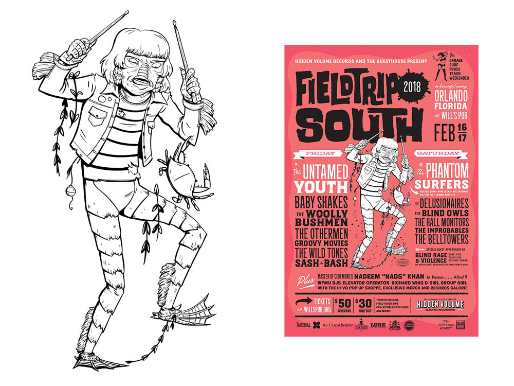 Creature Designed for  Hidden Volume Records Field Trip South 2018 Branding  Poster by Mr. Sugiuchi