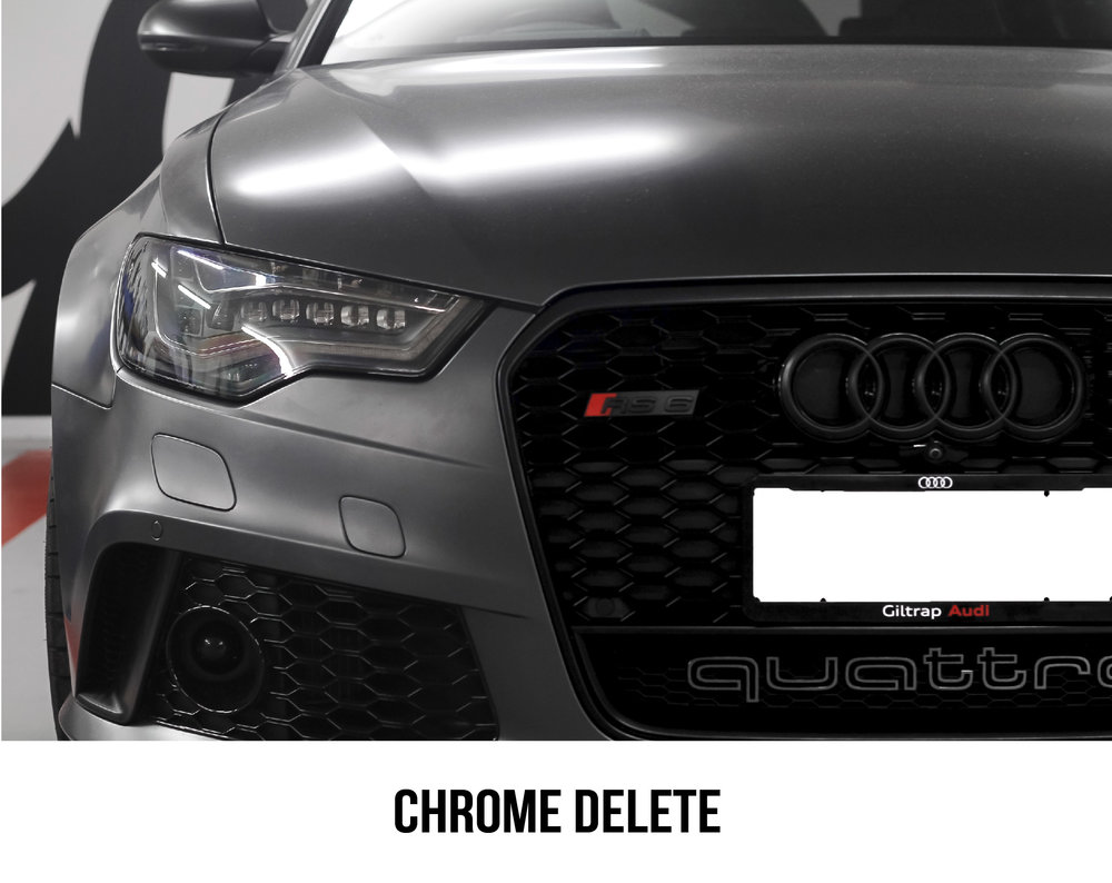 Chrome delete, we are able to delete your chrome by wrapping over it with 3M vinyl. Gloss, Matte or satin finishes are available at The Wrap Shop.