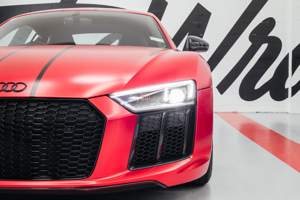 satin red chrome Audi r8