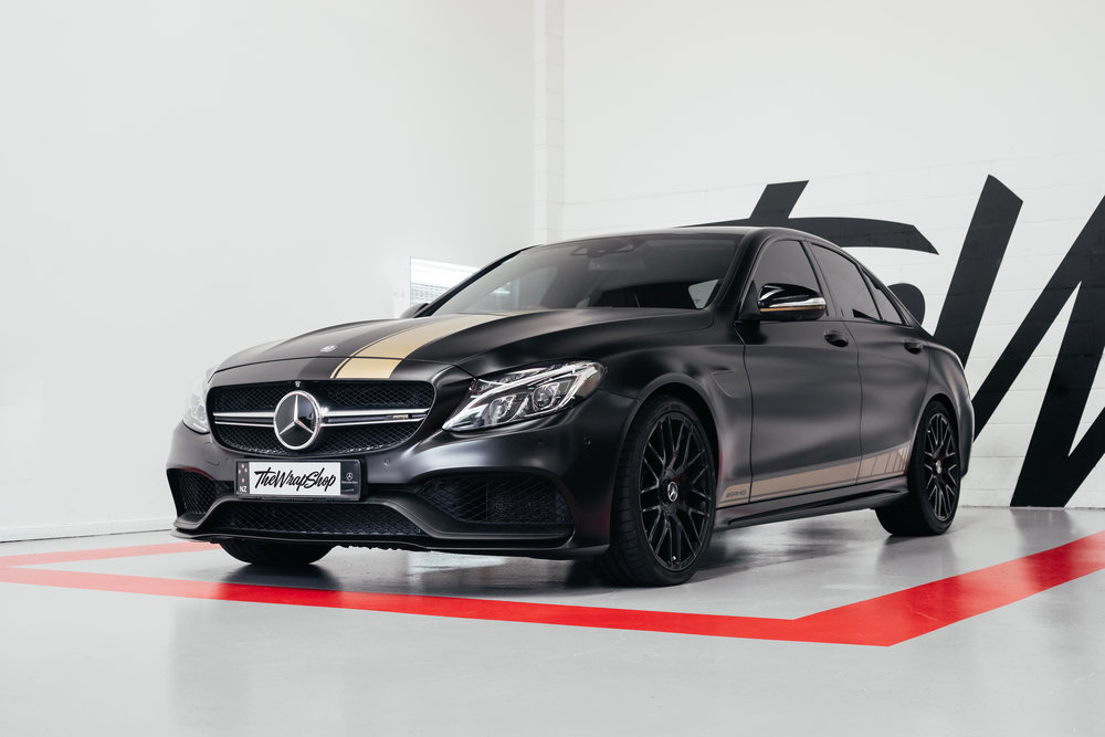 Satin Black Mercedes C63