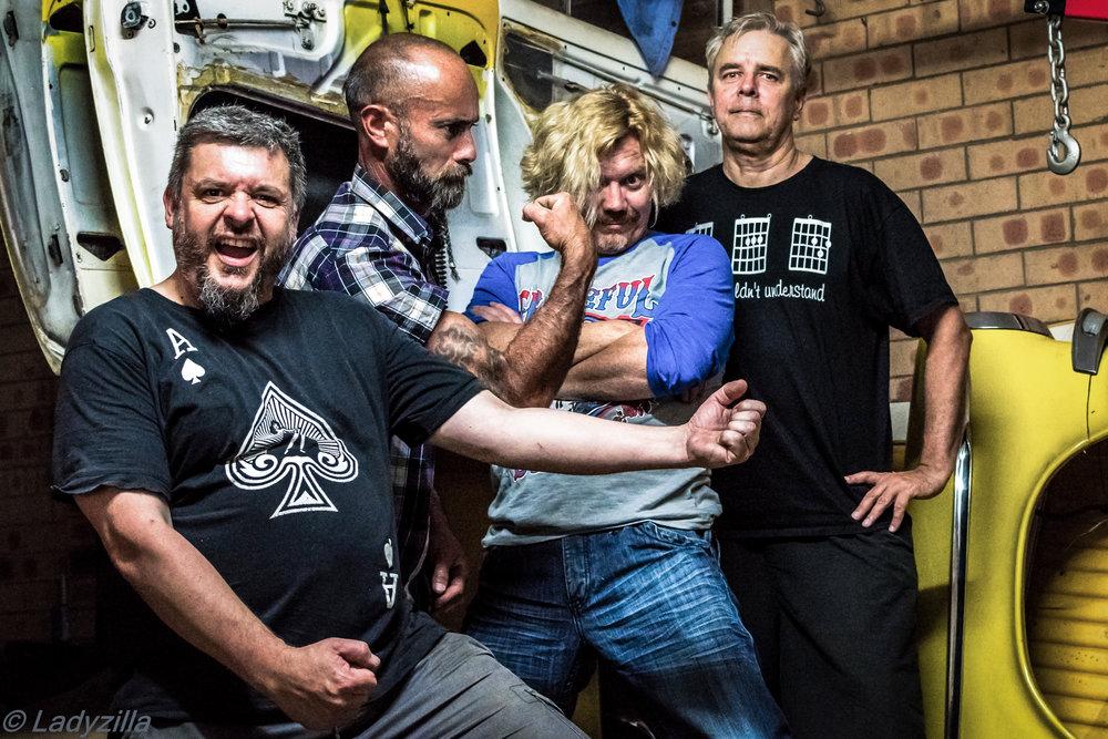 L-R: Jonny Kaos, Brien Timu, Ben Rippingale, Peter Mengede  Pic   Credit: Ladyzilla