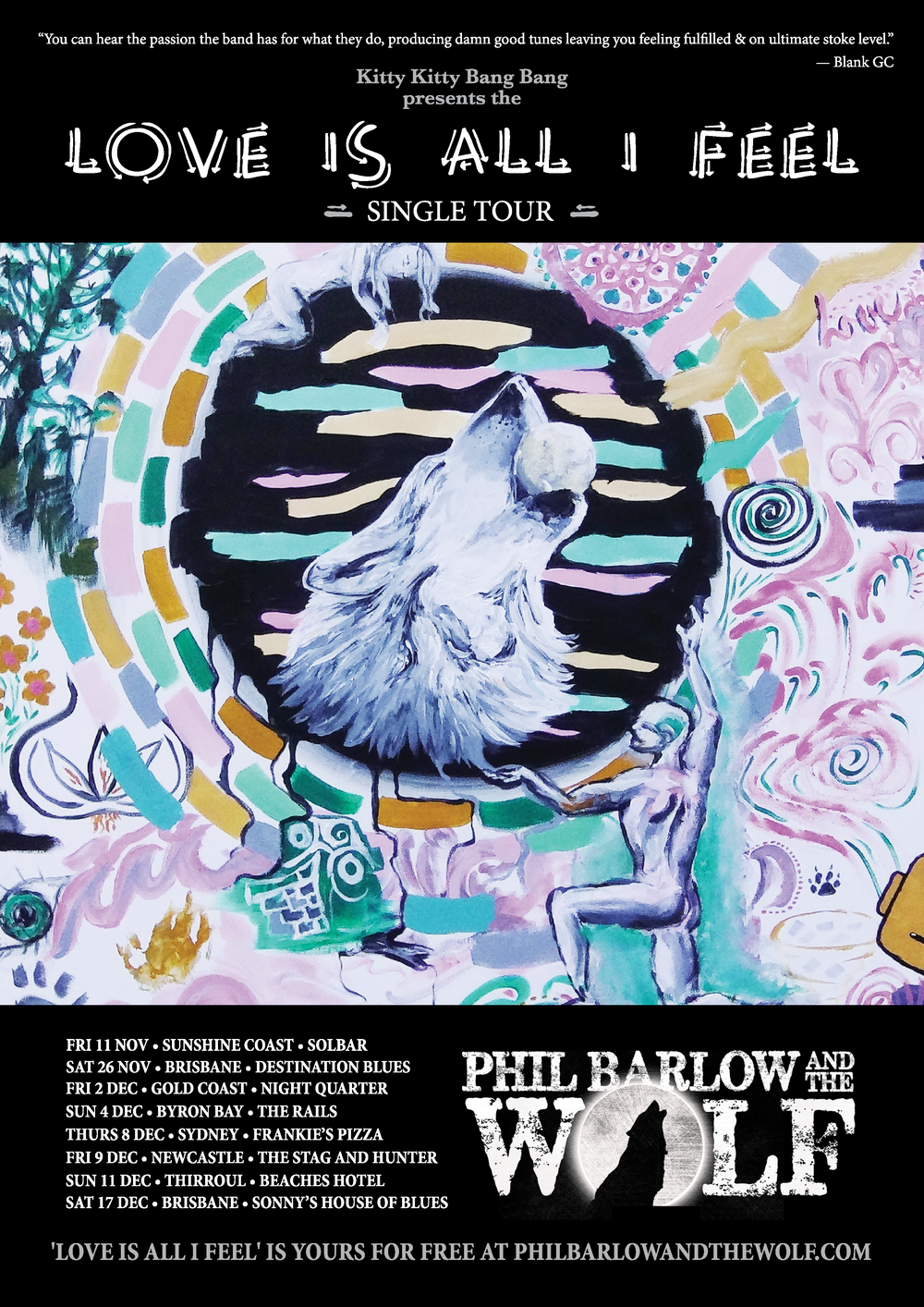 Phil Barlow and the Wolf Love is All I Feel Tour Poster