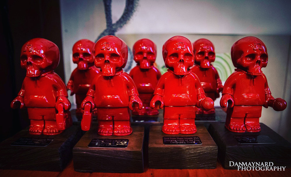 2016 Gold Coast Music Award statues, designed by artist-in-residence, Dion Parker.