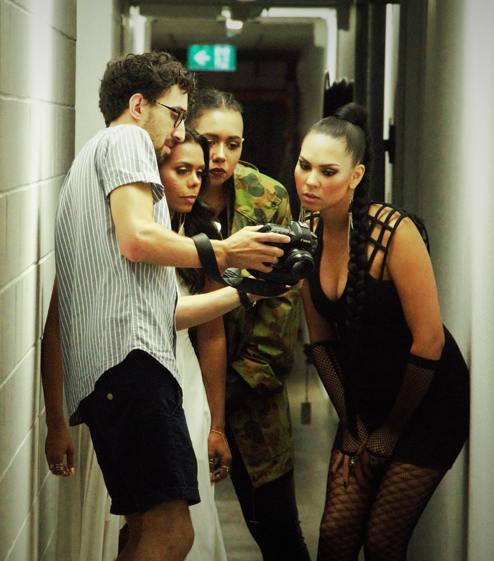 On the set filming  No More Silhouette s video clip. L-R Josef Ruskli,Elena Maria Wangurra,Kaylah Truth, Caprice Quinn.