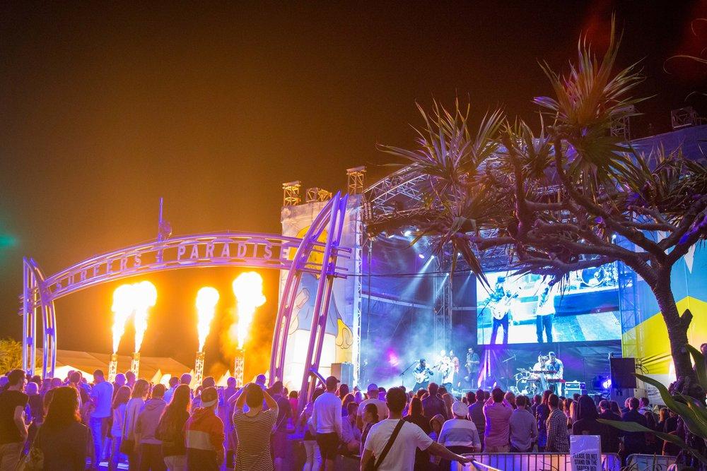 Electrik Lemonade taking to the massive Awards stage on the Surfers Paradise beachfront.