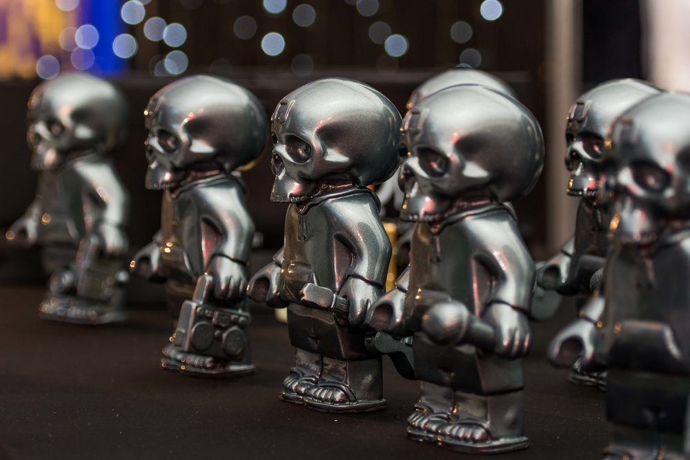 2018's Skull Murphy Award trophies, created by local artist Dion Parker.
