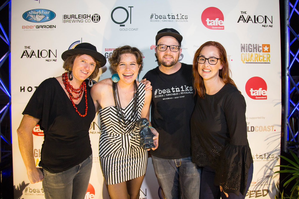 2018 Album of the Year winners, Hussy Hicks with Award sponsor, Beatniks.