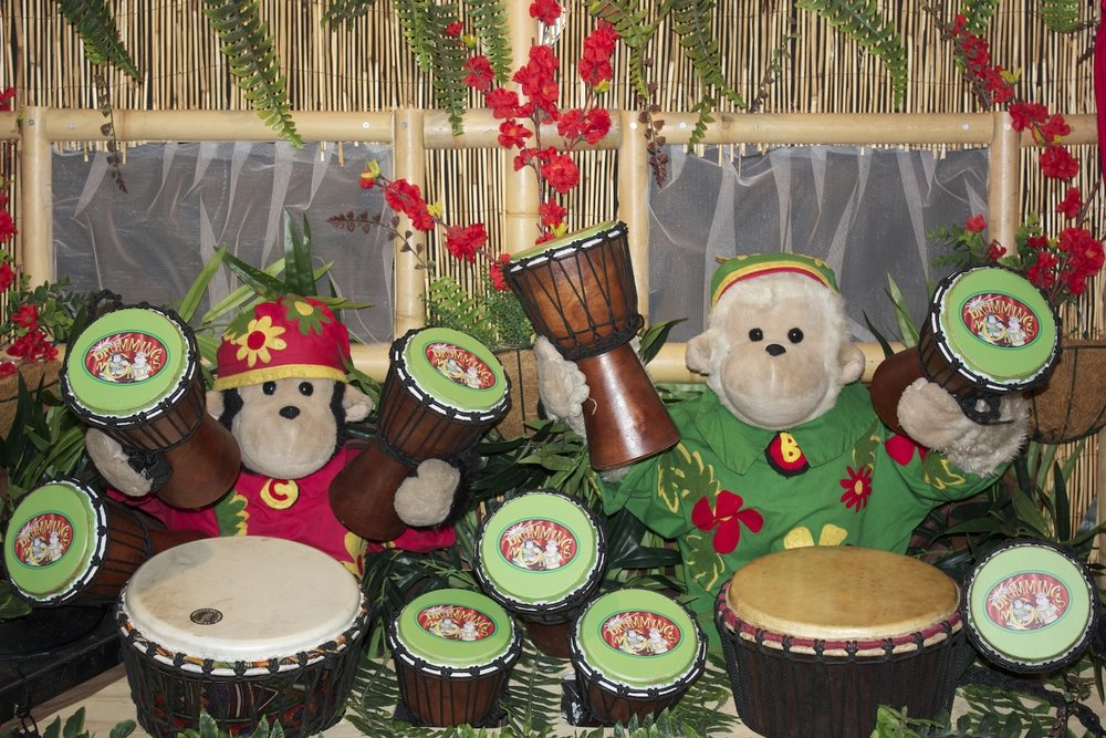 THE AMAZING DRUMMING MONKEYS (AUS)  The Amazing Drumming Monkeys have been wowing audiences around Australia and overseas for the past 14 years. Their show combines a unique blend of puppetry, live drumming grooves, comedy and heartwarming themes, to deliver a fun filled interactive show for the whole family. The show has cute and funny monkeys for the kids, great drumming for the adults, and a positive message for the world.
