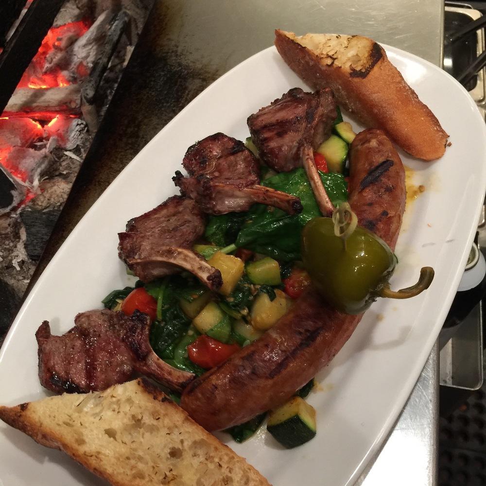 Grilled Baby Lamb Chops & Sausage