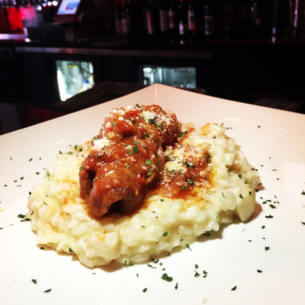 Braciolettine Messinesi  thin veal cutlet rolled with prosciutto and provolone cheese; in marinara sauce and served with porcini risotto $20
