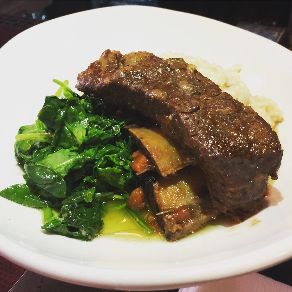 Braised Beef Short Ribs - Slow braised short ribs with porcini risotto and sautéed spinach $27
