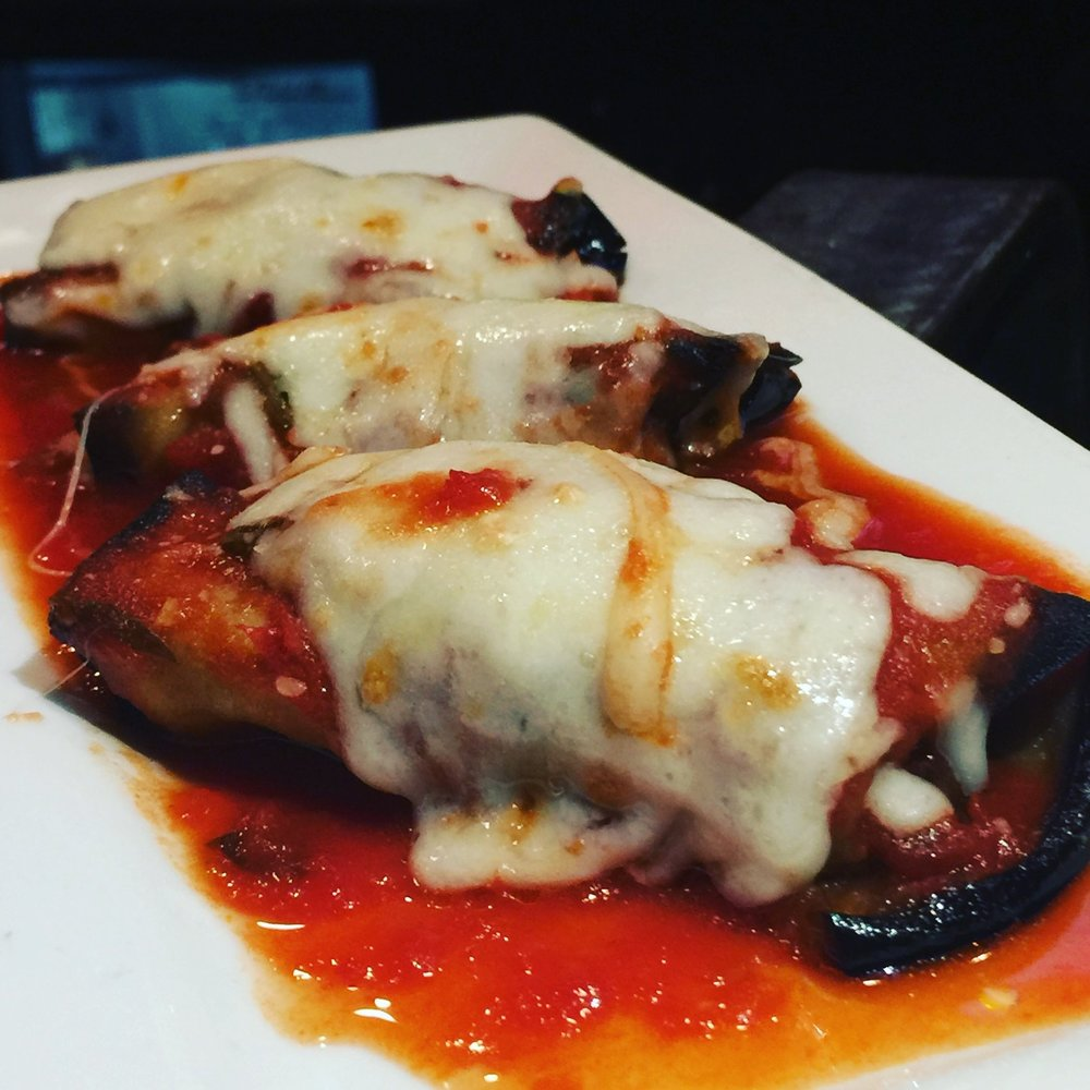 eggplant rolls - eggplant filled with ricotta cheese & covered in fresh marinara