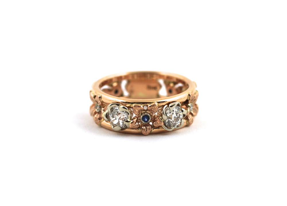rose gold, diamond, sapphire accent
