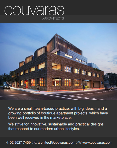 Quarter Page Advertisement for Couvaras Architects for ABNS Magazine