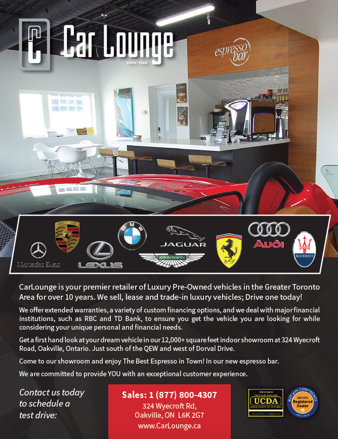 Full Page ad for Car Lounge Oakville for CBNM Magazine