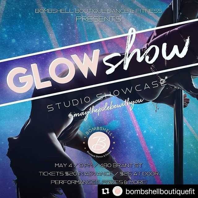 Designed this poster for @bombshellboutiquefit's showcase and I think it turned out pretty rad 👍  #poledance #burlington #graphicdesign #designer  #Repost @bombshellboutiquefit (@get_repost) ・・・ We've got a showcase coming up!!! Tickets are now available for our Glow Show Studio Showcase featuring our SQUAD dancers, students, instructors and some incredible special guests! • Friday May 4th ( #maythepolebewithyou ) Doors 830pm  Advance Tickets $20 avail at studio or via studio dancers This event promises mega talent and inspo! Great prizes, awesome vibes, dont miss it 💋🔥 #beabombshell #showcase #dance #community #performance #glowshow