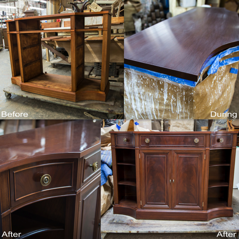 Cabinet: Stripped, sanded, scratches removed, stain reapplied, finished with a new coat of lacquer.