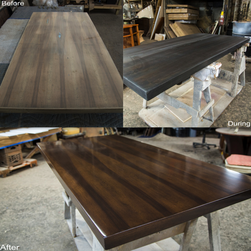 Walnut Tabletop:  Stripped, Holes Filled, Sanded, New Stain Applied.