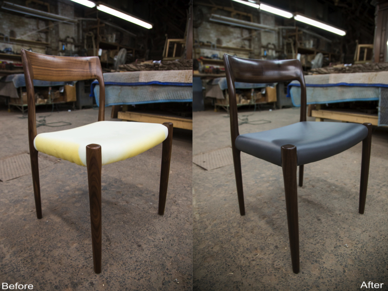 Wooden Chair: New Soft Dark Blue Leather Upholstery, Re-stained Wood