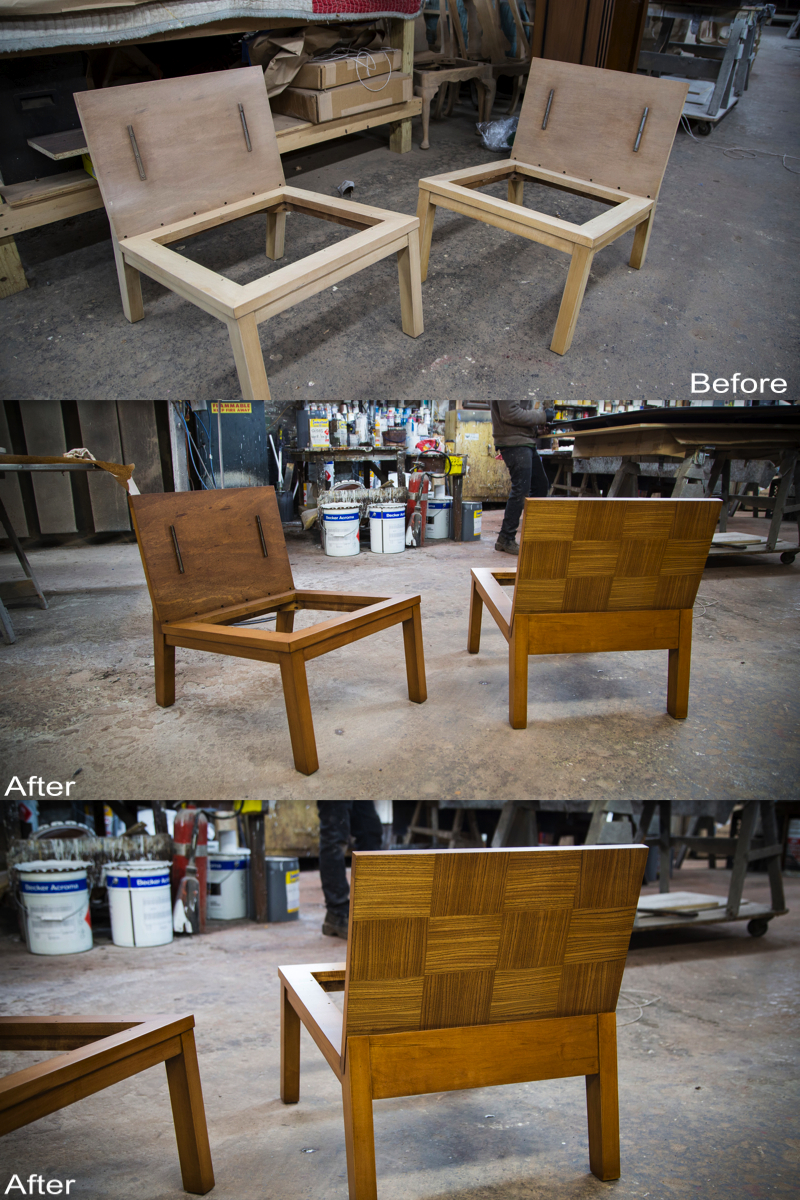 Chairs:  Completely Stripped, Sanded, Dents Repaired, New Stain and Finish Applied