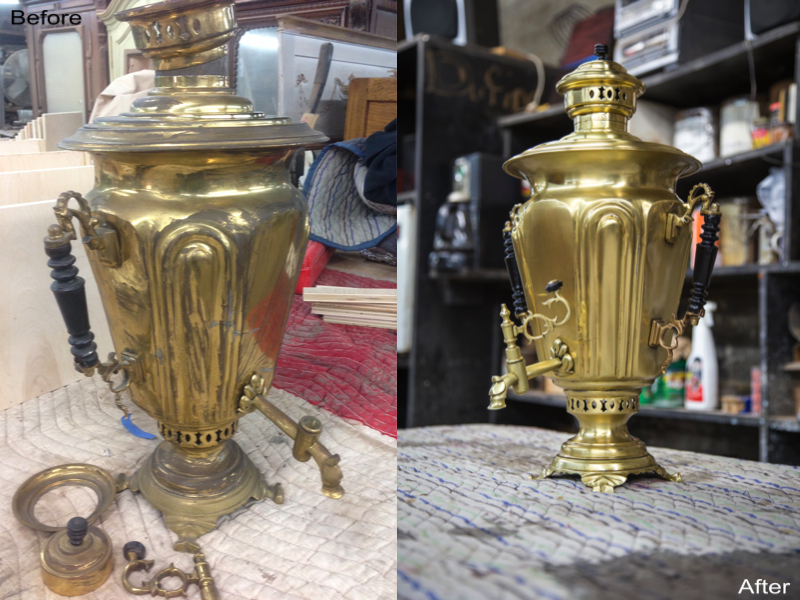 Antique Samovar: Stripped, Refinished Metal, Re-Polished