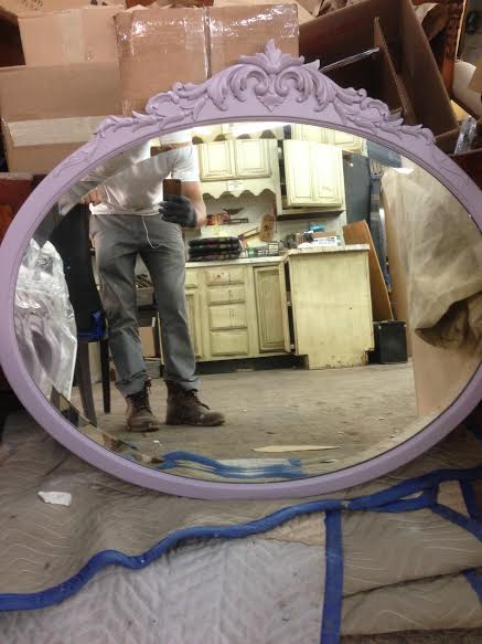 Custom Purple Lacquered Mirror - Designed and Built by the Dufine Furniture Team