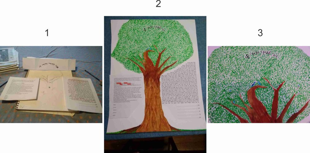 "1. Initial sketch of a tree, with printout of  the Ketubbah texts on each side and potential design text above.  2. Central artwork completed, with initial formatting of texts printed and placed (we plan to add flowers in the grass once the calligraphy is completed)  3. Close-up of the ""canopy"" to see the design text and birds in the branches."