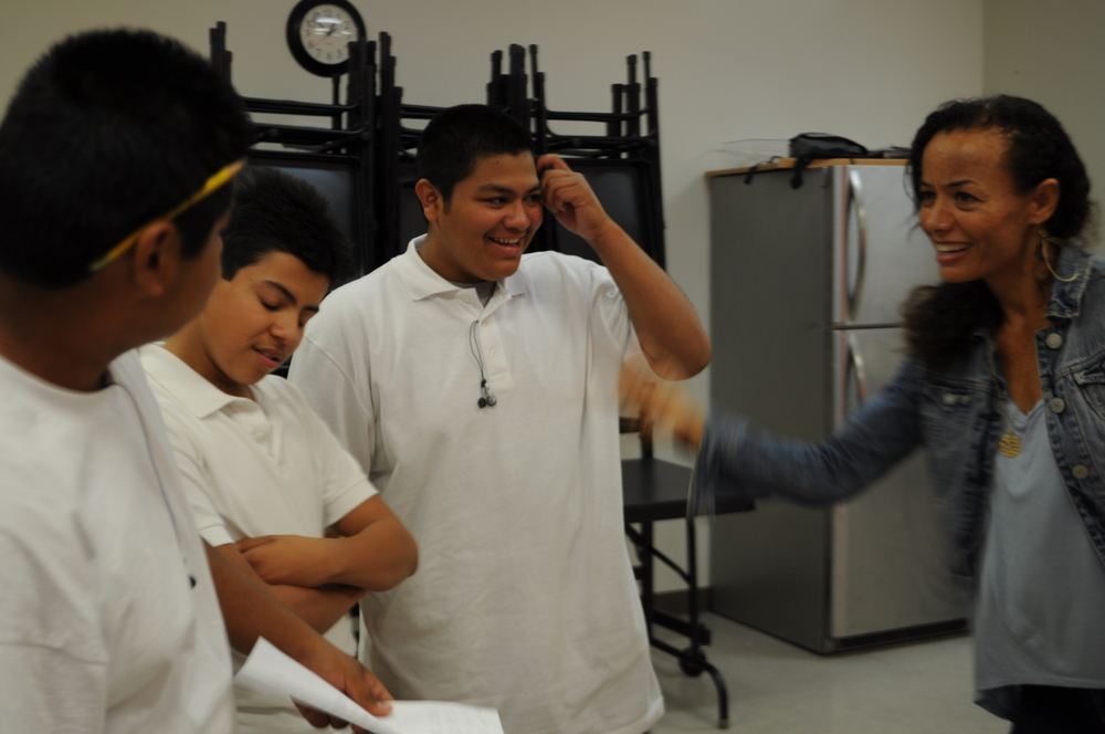 ArtWorxLA  Rehearsing with young men for a theatrical presentation and having a blast creating in a collaborative process.