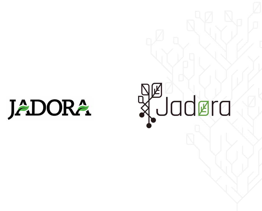 Jadora logo before (left) and after (right)
